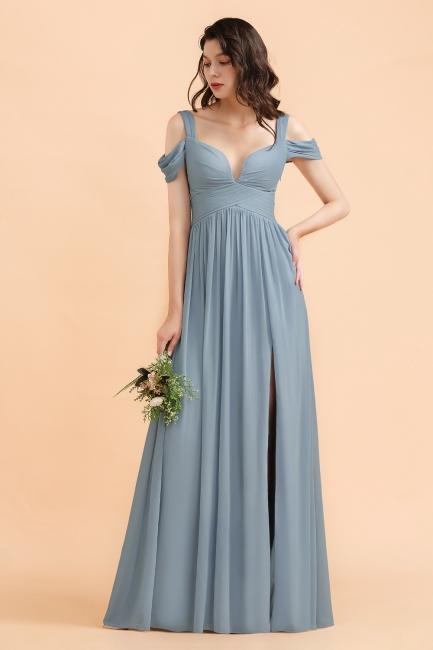 Brautjungfernkleider Stahlblau Lang Günstig | Schlichtes Abendkleid Chiffon