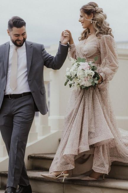 Schöne Brautkleid Glitzer mit Ärmel | Schlichte Hochzeitskleider V Ausschnitt