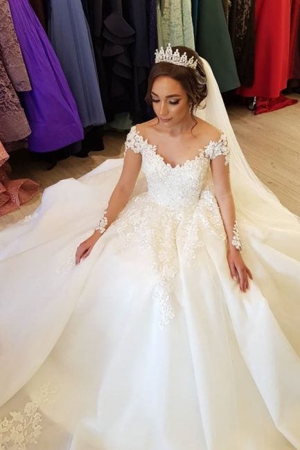 Designer wedding dress with sleeves | Lace wedding dresses A line