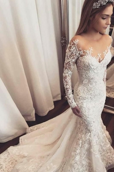 Wedding dress with sleeves | Beautiful wedding dresses mermaid lace