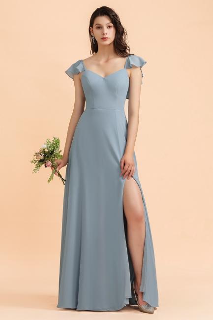 Brautjungfernkleider Stahlblau Lang Günstig   Kleider Für Brautjungfern