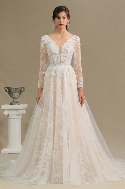 Designer Brautkleid A Linie Spitze | Hochzeitskleider mit Ärmel