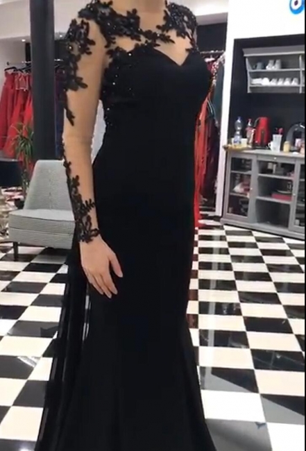 Fashion Evening Dresses Long Cheap | Evening dress black long sleeves