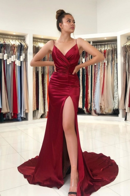 Simple evening dress wine red | Evening Wear Prom Dresses Online