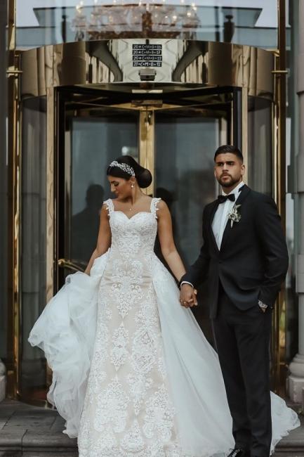 Moderne Brautkleider mit Spitze | A Linie Hochzeitskleid Lange Schleppe