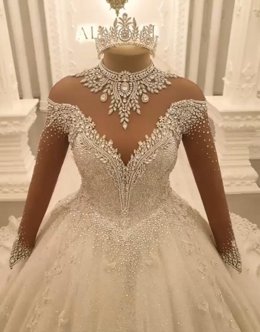 Beautiful wedding dresses with sleeves | Lace wedding dress princess