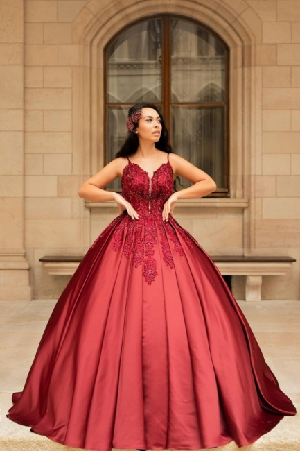 Modern evening dresses long red | High school ball gowns princess