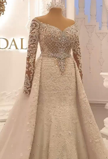Designer Wedding Dresses A Line | Lace wedding dresses with sleeves