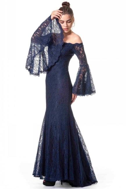 Navy Blaue Abendkleider mit Ärmel | Spitze Abiballkleider Lang Günstig