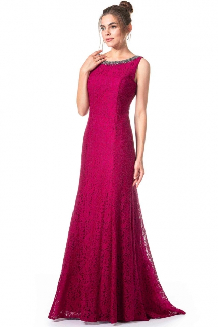 Simple evening dresses long lace | Fuchsia evening dress online