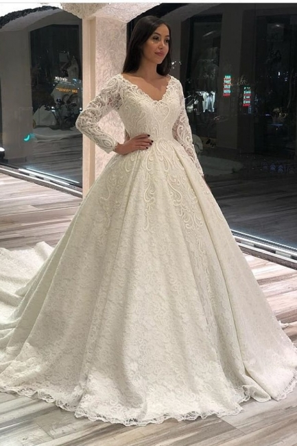 Extravagante Brautkleider Mit Ärmel | Hochzeitskleider Spitze Prinzessin