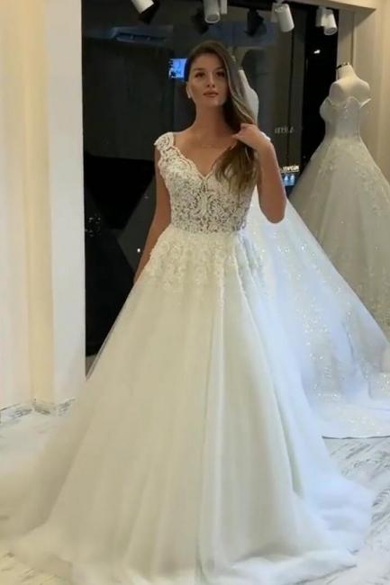 Designer Hochzeitskleider V Ausschnitt | A Linie Brautkleid Mit Spitze