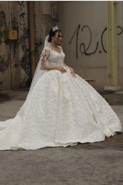 Prinzessin Hochzeitskleider mit Spitzeärmel   Brautmoden Online Kaufen