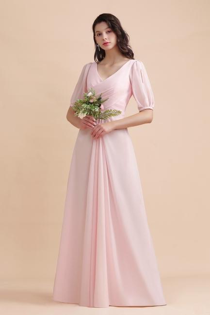 Rosa Brautjungfernkleider Mit Ärmel | Chiffon Brautjungfernkleid Lang Günstig