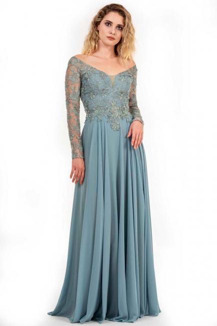 Designer Brautmutterkleider Lang Chiffon | Abendkleid Mit Spitze Ärmel