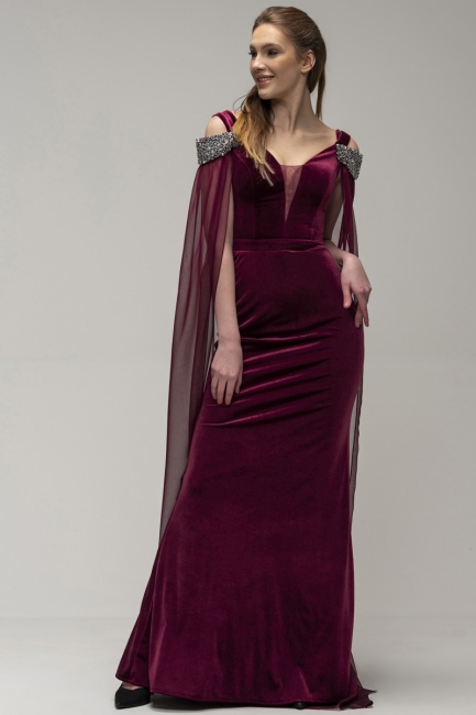 Wine red evening dresses Velvet | Evening dresses long cheap online