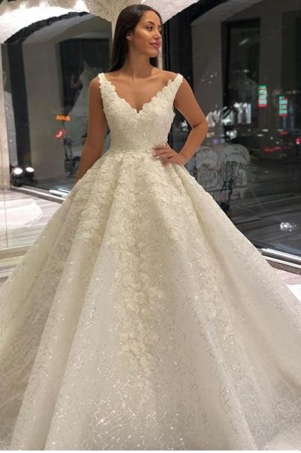 Wedding dresses A line V neckline | Wedding dresses with lace