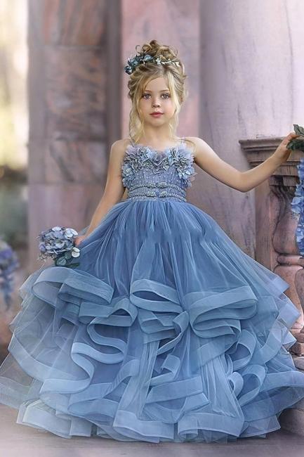 Blaue Blumenmädchenkleider Prinzessin | Kleider Kinder Hochzeit