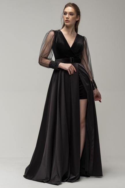 Elegant Evening Dresses Long Black | Evening wear with sleeves