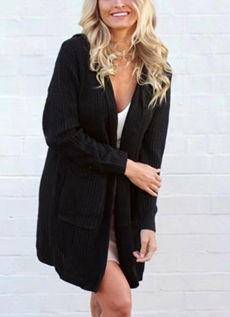 Knitted sweaters women coats | Black ladies coat