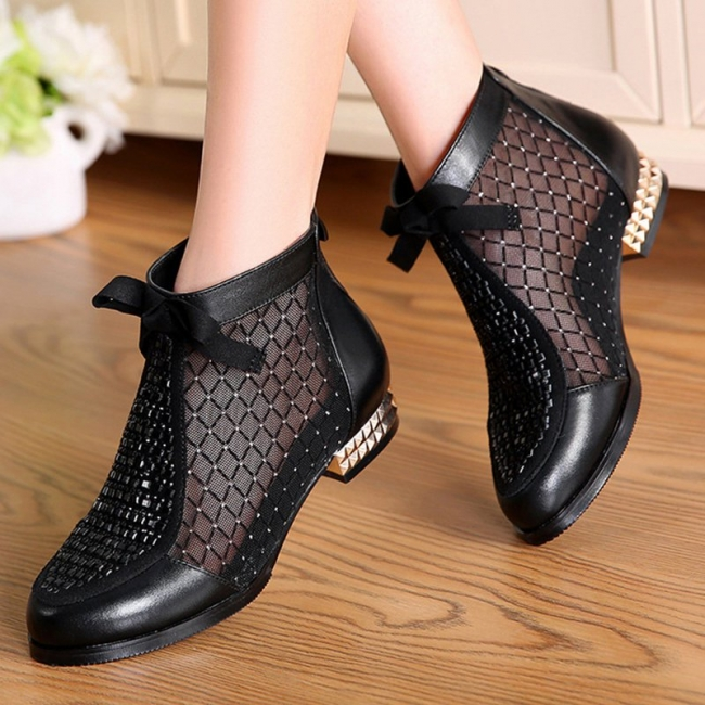 Platform boots black | Ankle boots women with heels