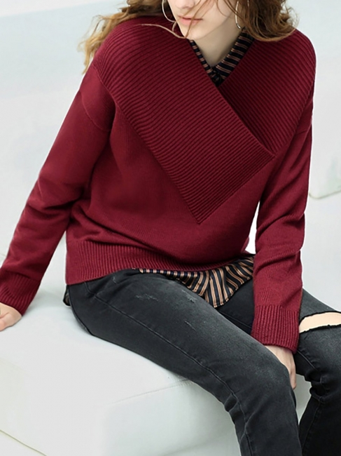 Wine Red Hhoodie Print Sweatshirt | Knit sweater women