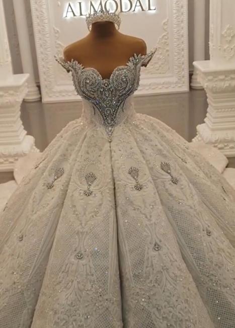 Luxurious White Wedding Dresses Lace Princess Wedding Gowns Bridal