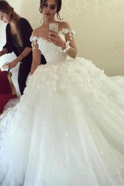 Designer Brautkleider Lang Ärmel Weiß Spitze Prinzessin Hochzeitskleider Hochzeitskleid Kaufen