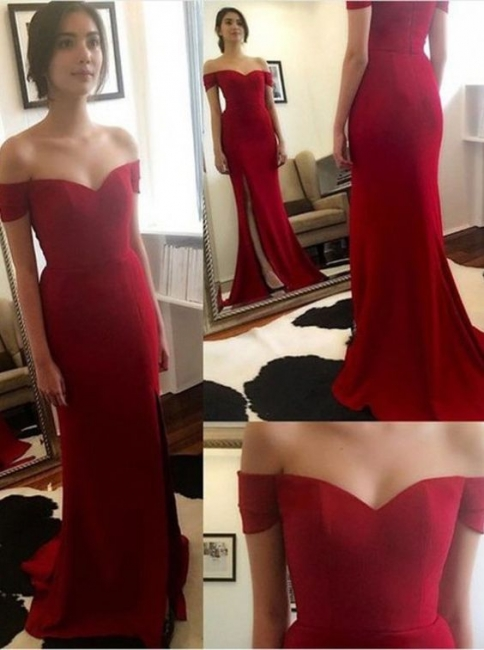 Red Long Evening Dresses Chiffon Cheap Off Shoulder Evening Dresses Prom Dresses