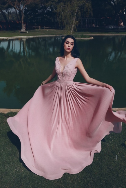 Designer Evening Dresses Long V Neck | Chiffon prom dresses pink