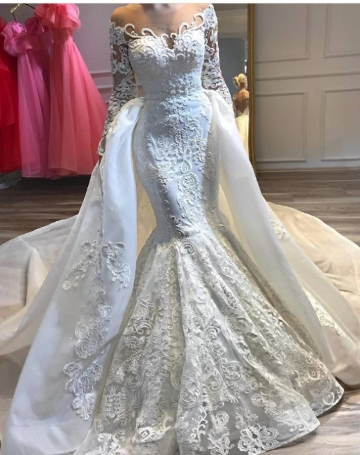 Luxury wedding dresses A line lace | Bridal wear with sleeves