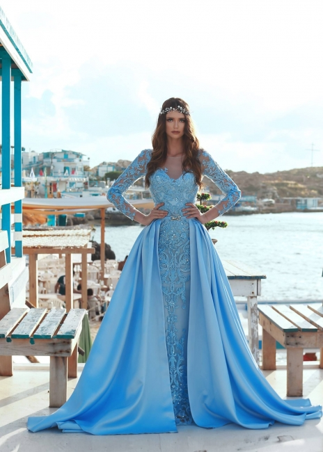 Blue Evening Dresses With Sleeves Lace Prom Dresses Long Cheap