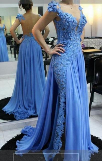 Fashion Blau Abendkleider Lang Mit Spitze Chiffon Abendmoden Online