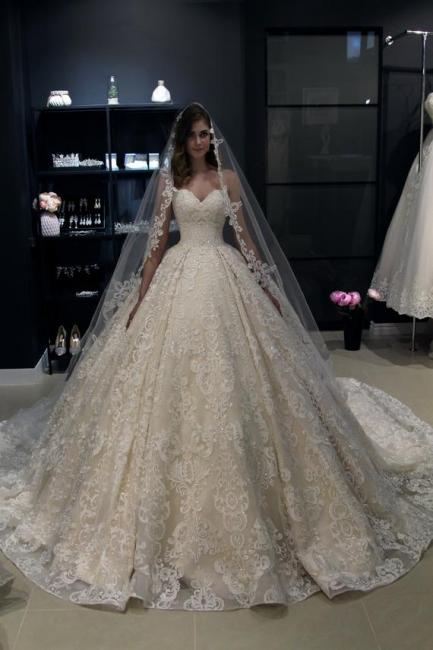 Elegant Wedding Dresses Cheap | Lace wedding dress A line