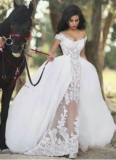 White wedding dresses mermaid heart train bridal wedding dresses