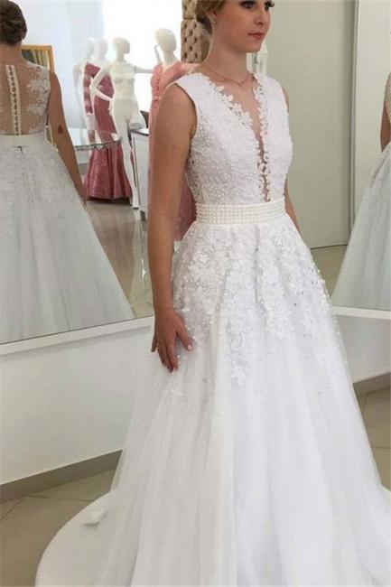 A Linie Brautkleider Spitze Weiß Mit Perlen Günstig Hochzeitskleider Nachmaße Machen