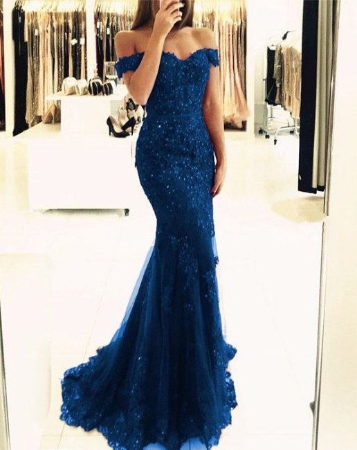 Elegant evening dresses long cheap with lace mermaid prom dresses long dark blue
