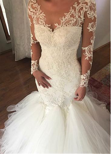 Extravagante Brautkleider Spitze | Hochzeitskleider Mit Ärmel Meerjungfrau