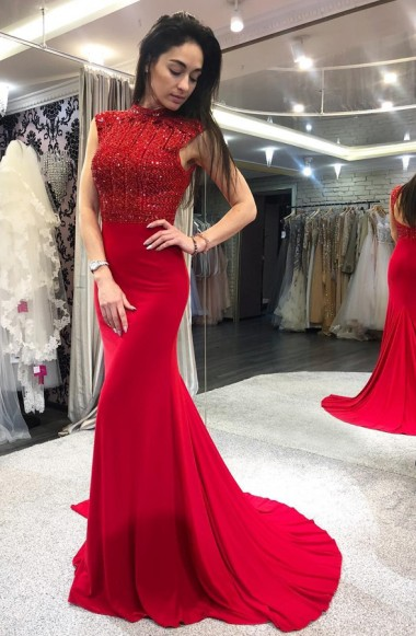 Red evening dresses long glitter | Prom Dresses Cheap Online