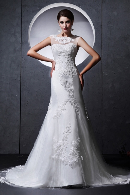 Modern White Wedding Dresses Lace Straps Tulle Bridal Wedding Dresses Cheap