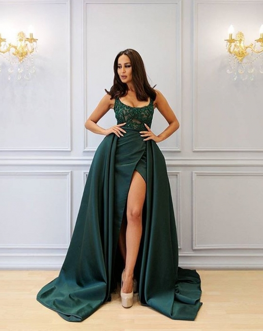 Designer Abank Dresses Long Green | Evening wear with lace