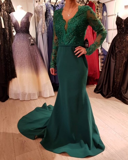 Elegant evening dress green | Cheap evening dresses long with sleeves