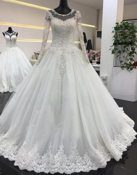 Schlichte Weiße Brautkleider Mit Ärmel A Line Hochzeitskleider Spitze Günstig