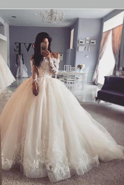 Formal wedding dresses with sleeves | Lace wedding dresses A line