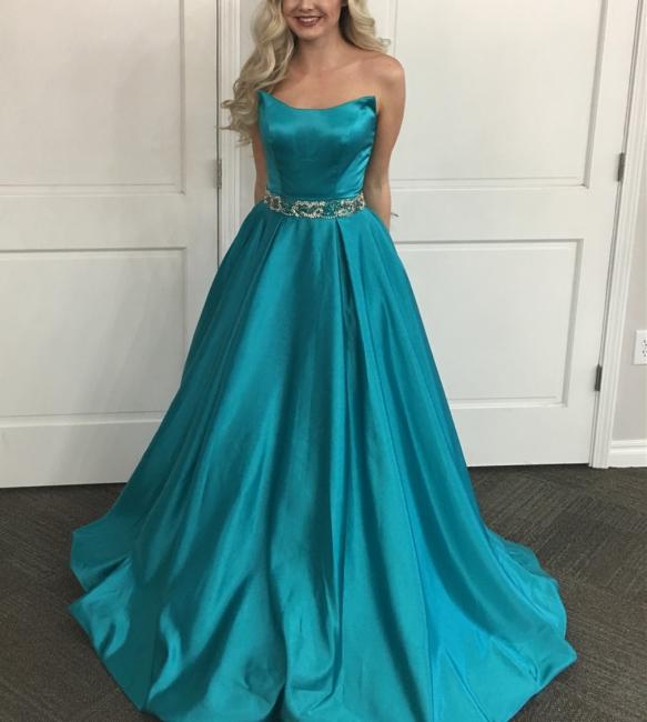 Fashion Abendkleider Blau Lange Günstig A Line Satin Abendmoden Online