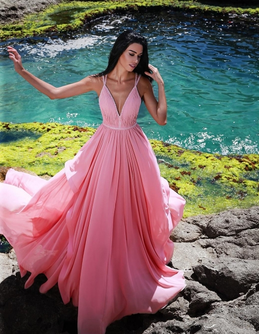 Elegant evening dress long pink cheap chiffon evening wear online
