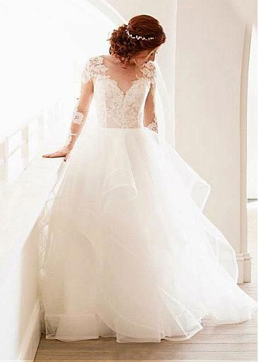 Modern wedding dress A line | Lace wedding dress with sleeves