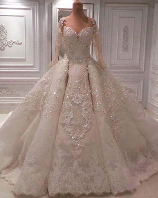 Designer Wedding Dresses A Line With Sleeves | Lace Wedding Dress Online