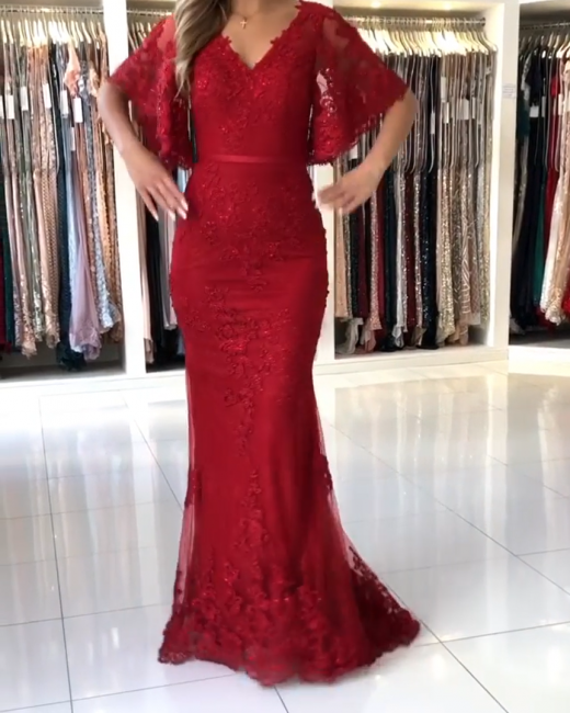 Elegant evening dresses long red | Evening wear lace with sleeves