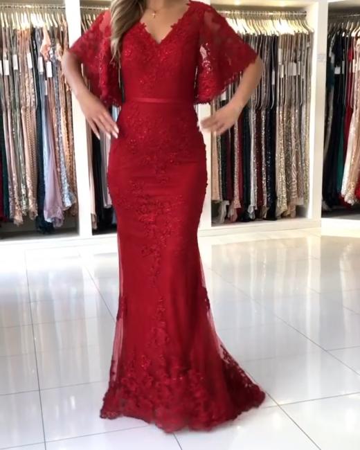 Elegante Abendkleider Lang Rot | Abendmoden Spitze mit Ärmel